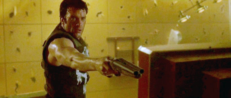 Castle carries a cutdown Savage/Stevens 311A shotgun, presumably one of his father's, in a scabbard on his back.