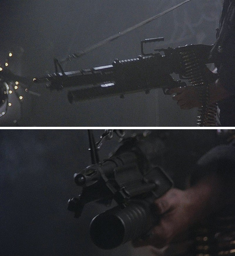 Frank firing his M60 in the illegal casino. Note the launcher mounted underneath.