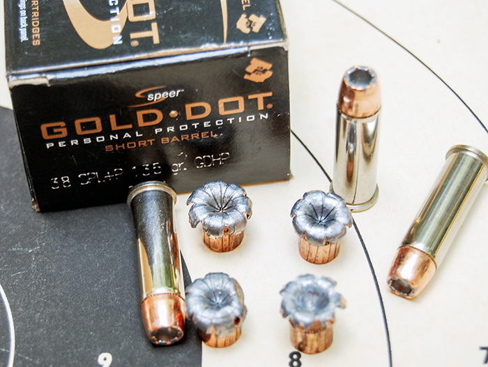 Speer Gold Dot self defense hollow-point ammunition in .38 Special.