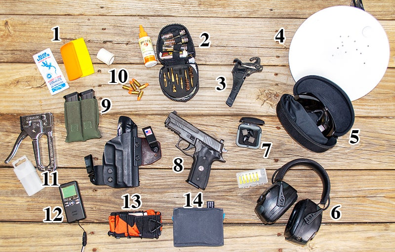 The author's range gear for practicing for concealed carry shooting.