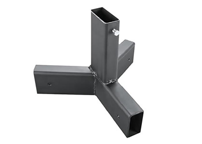 Steel 2x4 base joints like this are a great way to assemble a portable steel plate rack. Low to the ground, they're unlikely to get shot and destroyed. They also pack easily in the car when disassembl
