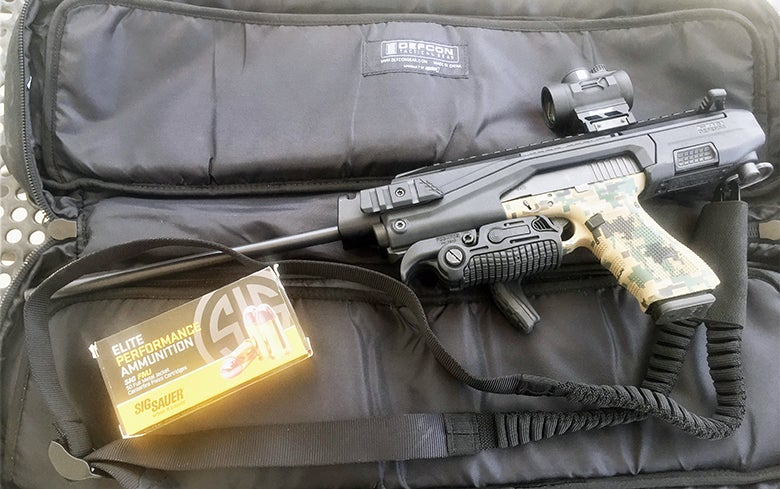 The KPOS unit fits inside a backpack made for a 17