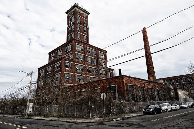 The Remington Shot Tower as it stands today, part of an abandoned Remington ammo plant in Bridgeport, Connecticut.