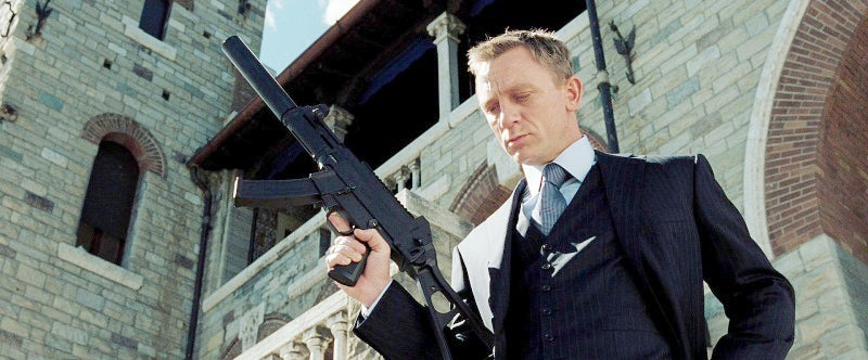 Bond with his suppressed Heckler & Koch UMP-9 at the end of the film.