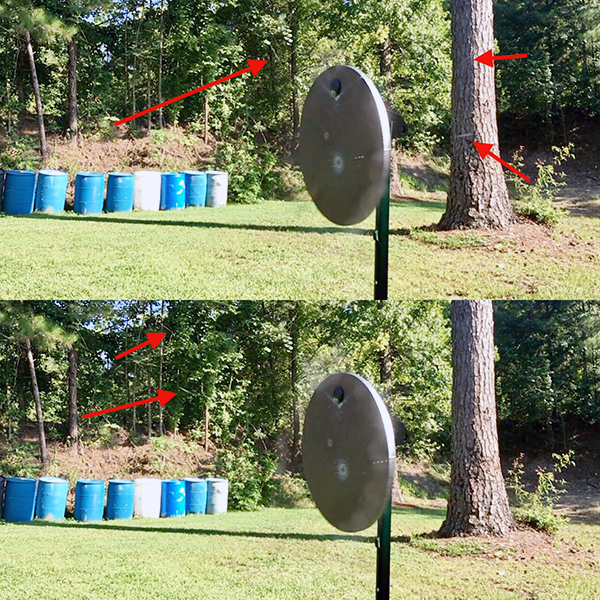 American Eagle Syntech Impact: If you look carefully, these two freeze frames show a couple of small fragments from the American Eagle Syntech bullets. Since there is no copper jacket, it's limited.