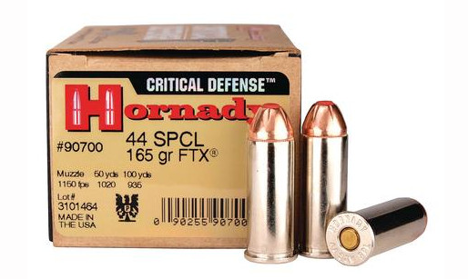 The author recommends Hornady 165 gr FTX Critical Defense loads in .44 Special for urban self-defense.