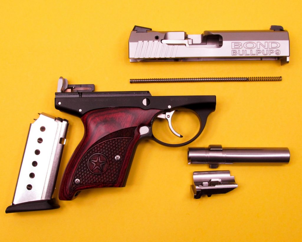 The pistol disassembled.