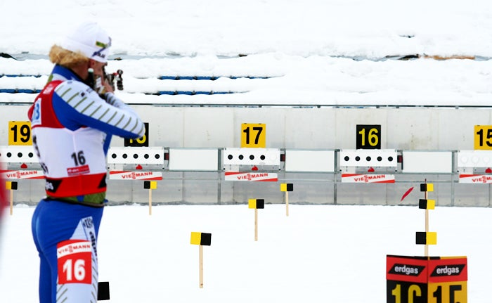 This view gives you a good idea of how small the biathlon targets are.