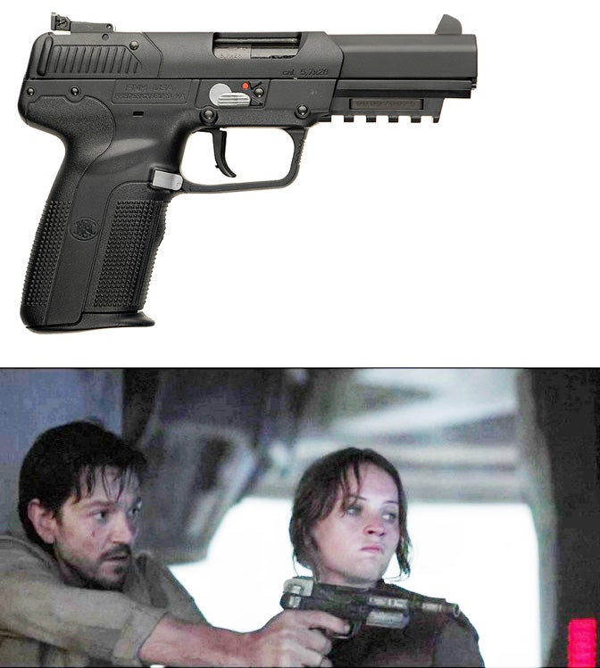 uses an unnamed blaster pistol that clearly based on the FN Five-seveN pistol.