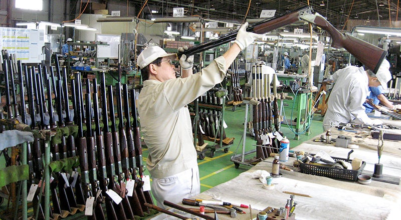 One last inspection of a Browning Citori shotgun before it leaves the factory in Miroku, Japan.