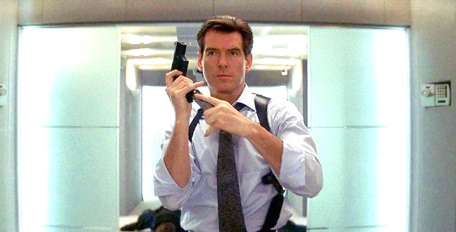 Bond again carries a Walther P99 in a black leather shoulder holster.