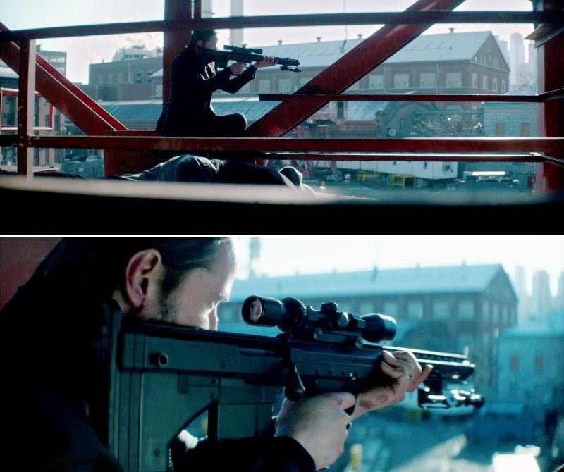 Wick using a capture bad guy's sniper rifle to take out another enemy sniper.