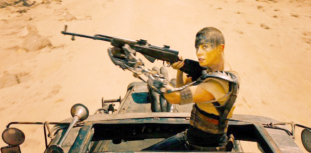 Furiosa with an SKS rifle including a modified foregrip to allow her to more easily use it with her mechanical hand.