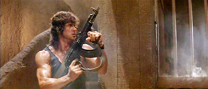 Rambo with a chopped AMD-65 rifle, originally made for tank crews.