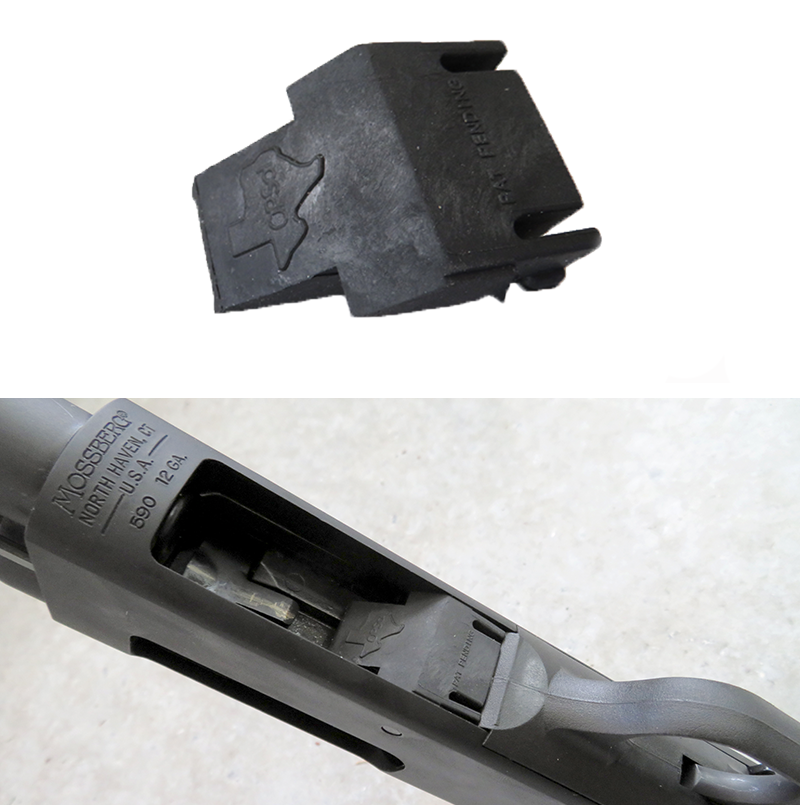 The [OPSol Texas mini-clip](http://www.opsolmini-clip.com/) (top) is molded from a hard yet flexible polymer material that snaps into the loading port on the bottom of the Shockwave's receiver (bottom