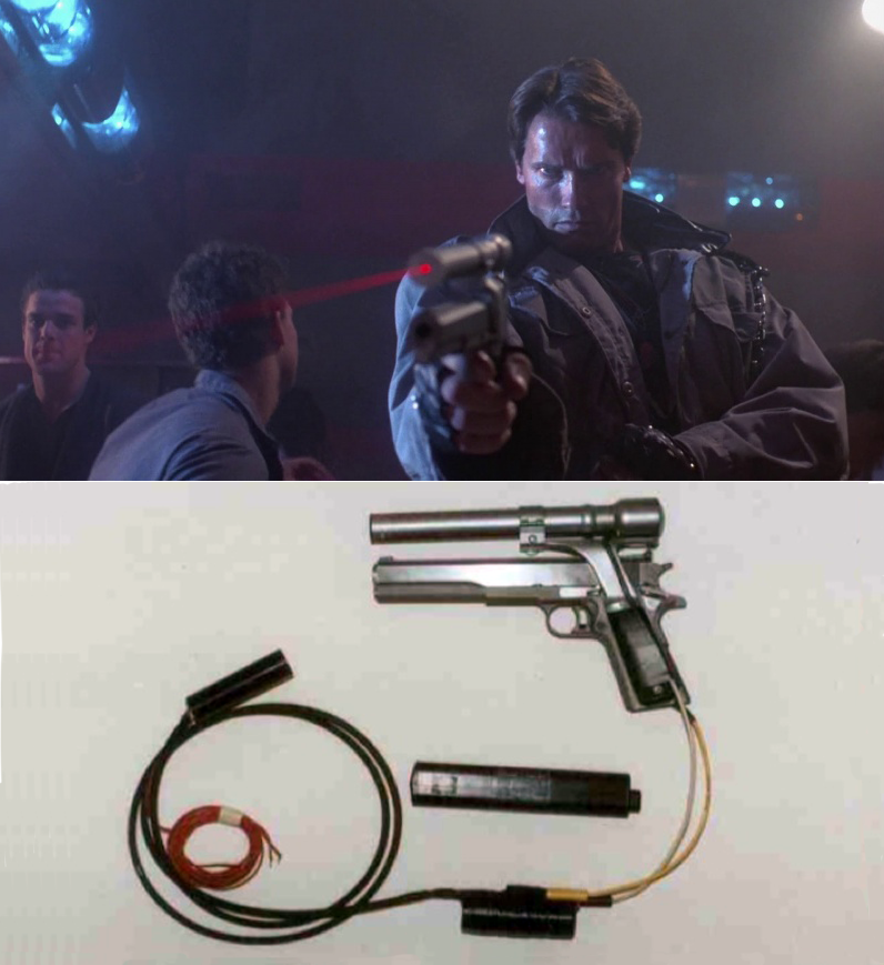 Laser sights were rare and not commercially available in 1984. The laser on the .45 was a helium neon laser that required 10,000 volts to activate, and another 1,000 volts to maintain. When it's activ