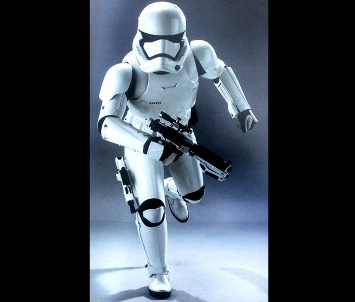 A First Order Stormtrooper with a Sonn-Blas SE-44C Blaster Pistol holsters on his leg.