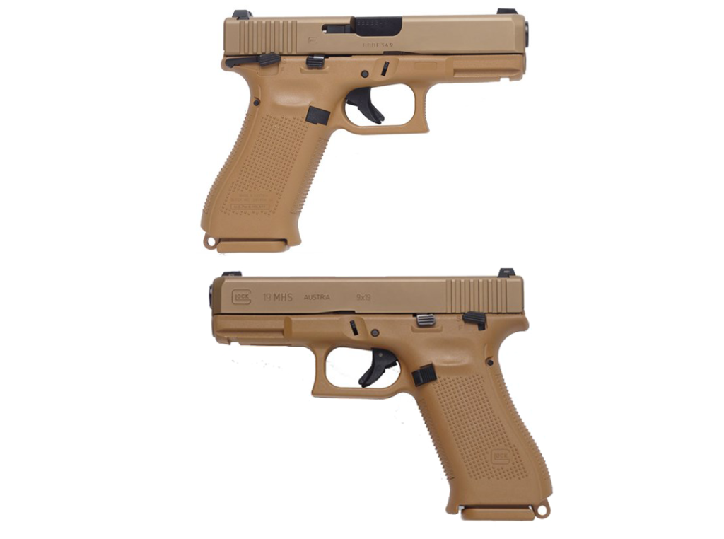 Both sides of the Glock MHS pistol. Note the differences in the safety levers and the added lanyard loop at the base of the grip.