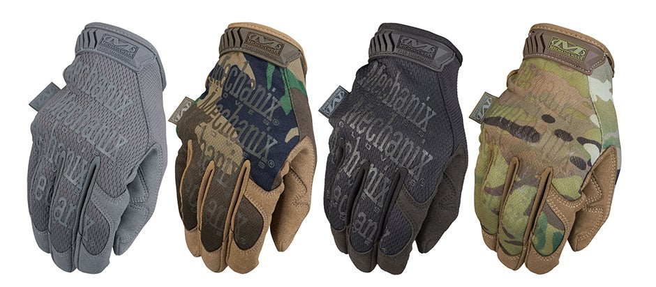The Original Mechanix gloves come in a variety of colors and camo patterns. Shown here are Stealth Gray, Woodland, Covert, and Multicam.