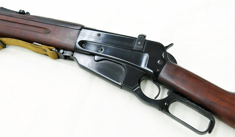 The M1895's box magazine held four rounds for a total capacity of 4+1. Russia ordered 300,000 units chambered in 7.62×54mmR during WWI.