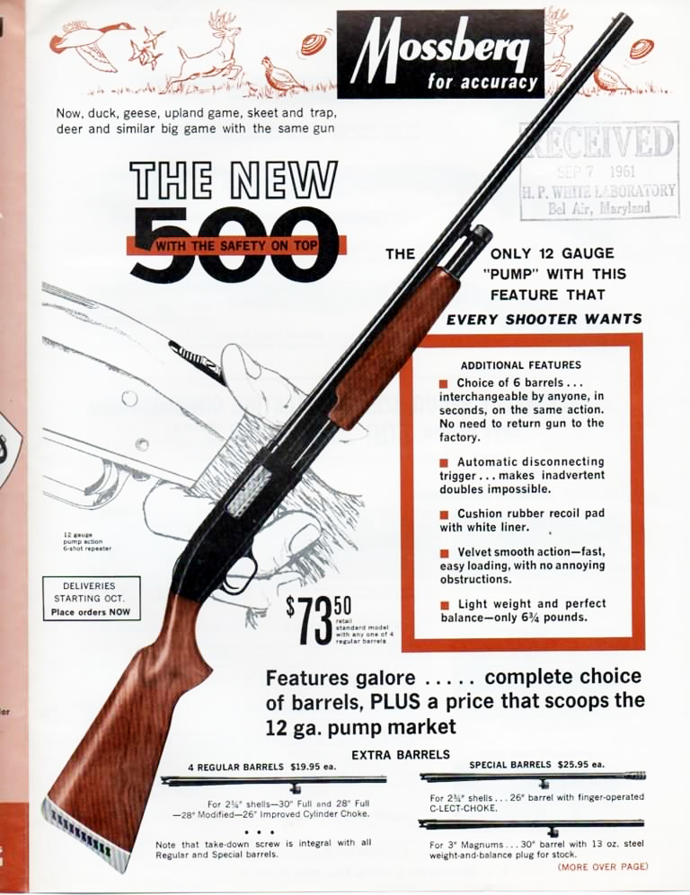 An early ad for the Mossberg Model 500.
