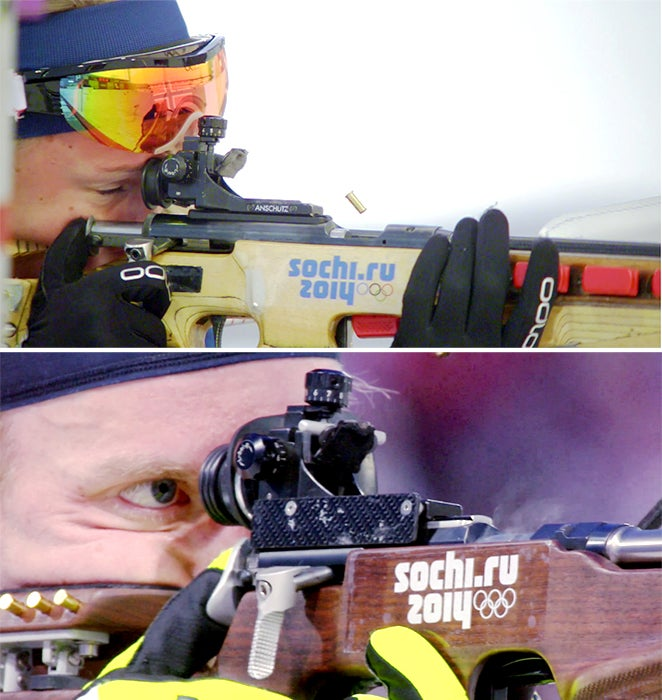 Shooters use their trigger finger to pull the bolt back and eject the spent casing and their thumb to push the bolt forward to chamber the next round.