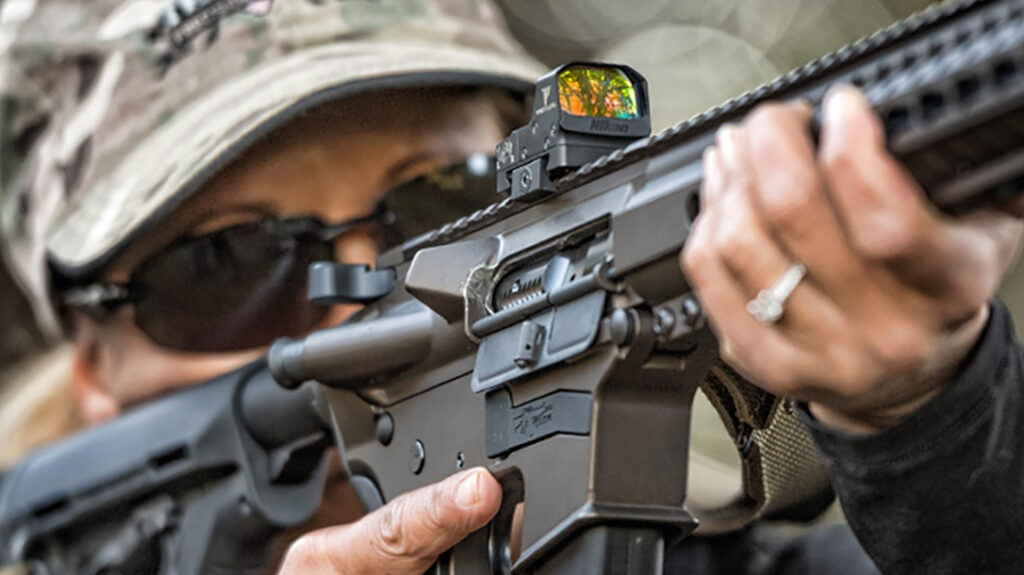 The Nikon P-Tactical Spur mounted on an AR.