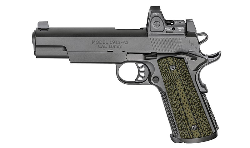 A profile shot of the 5-inch barrel version of the Springfield TRP RMR 10mm.