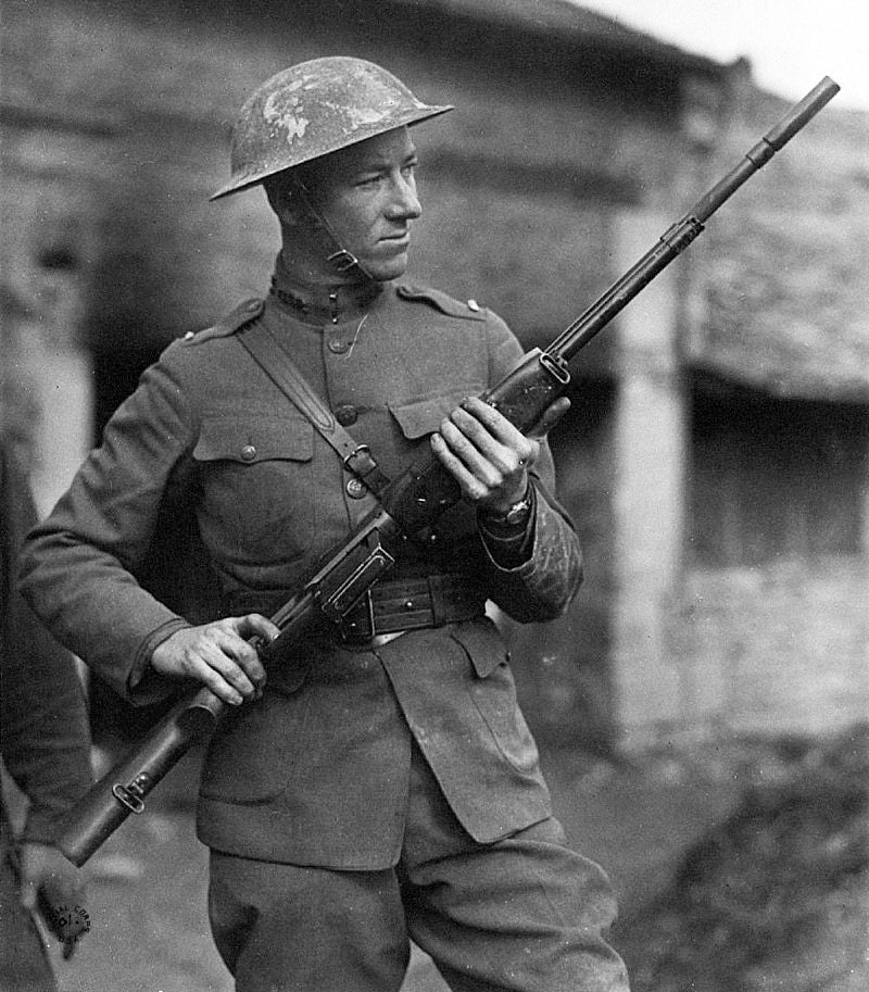 Second Lieutenant Val Browning with a BAR in France.