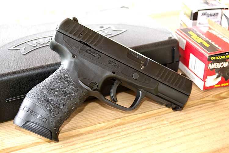 A right side shot of the Creed at the range.