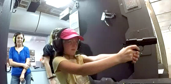After the classroom, the kids get to hit the range with their .22LR pistols.