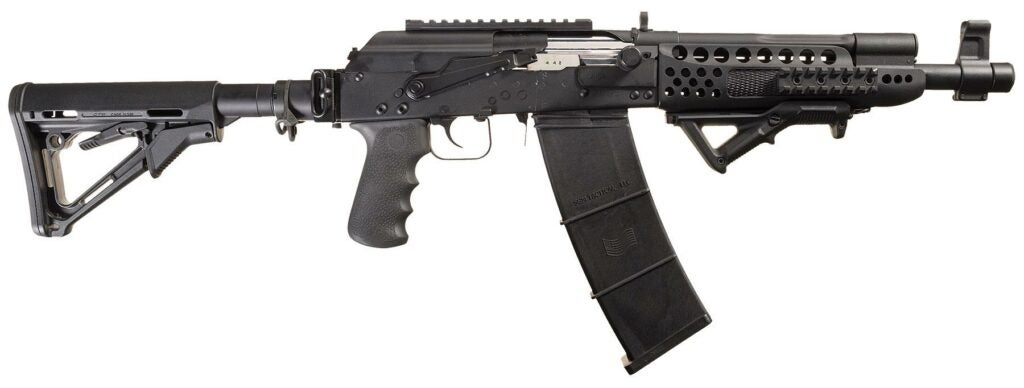 An example of a Saiga 12 autoloading shotgun, which is fed from a detachable box mag.