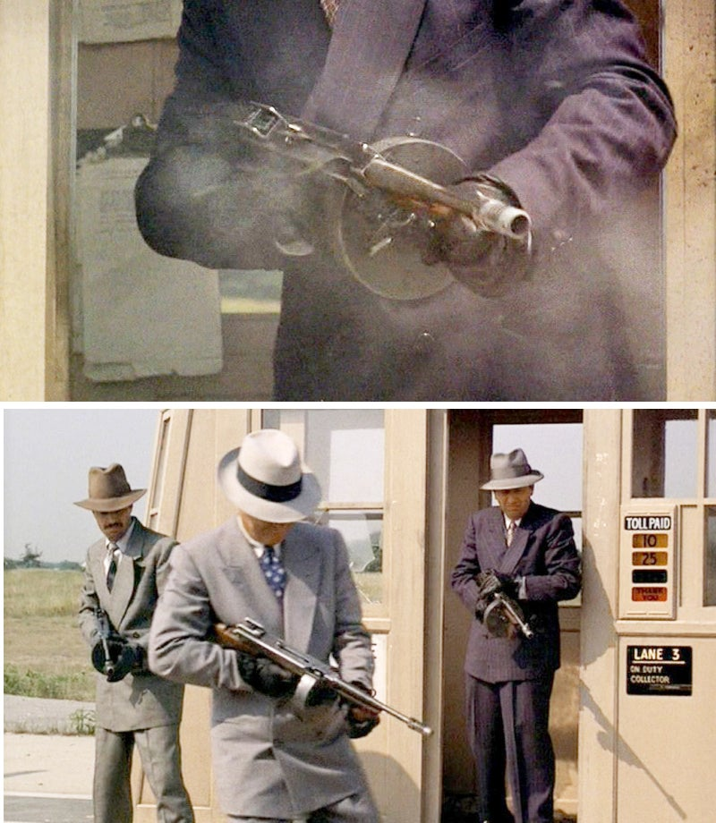 Sonny is gunned down at a toll plaza by a group of men with Thompson M1928 submachine guns.