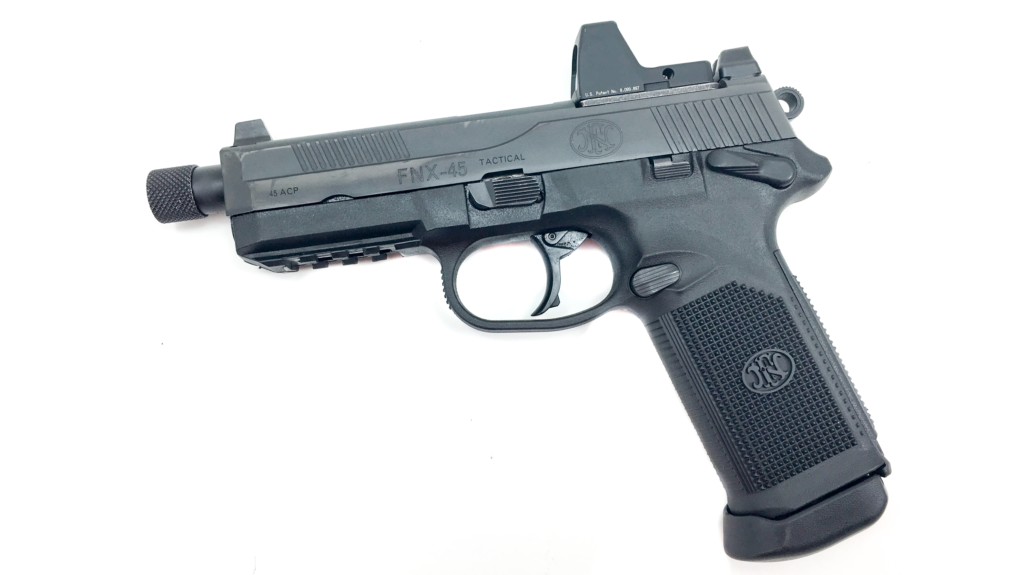 FN FNX 45 Tactical pistol with a Trijicon RMR red dot sight.