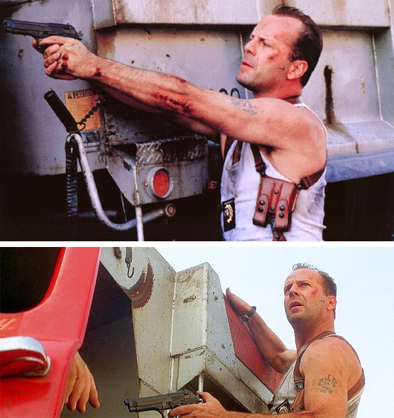 A couple more shots of McClane's Beretta and his Galco shoulder holster rig.