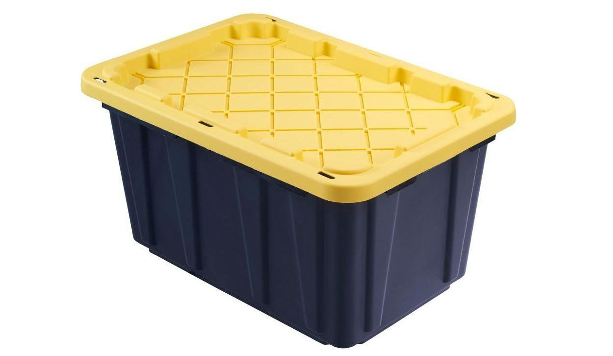 HDX 27 Gal. Storage Tote can be found in home improvement stores and on amazon.com.