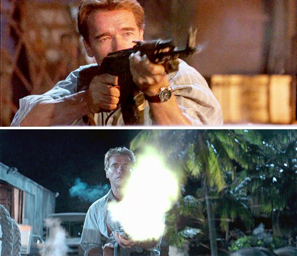 Harry picks up and uses a bad guy's AKM at the terrorist compound.