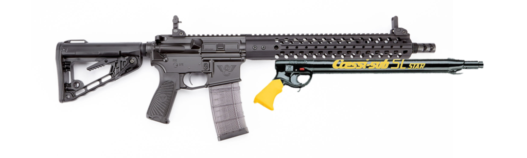 """A Wilson Combat Recon SR Tactical rifle in .458 SOCOM with a 14.7"""" barrel with a [Cressi SL Pneumatic spear gun"""