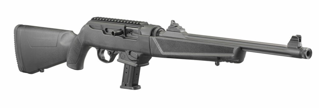 The new PC-9 Carbine is chambered in 9mm and has an interchangeable magwell that will accept common Ruger and Glock magazines.