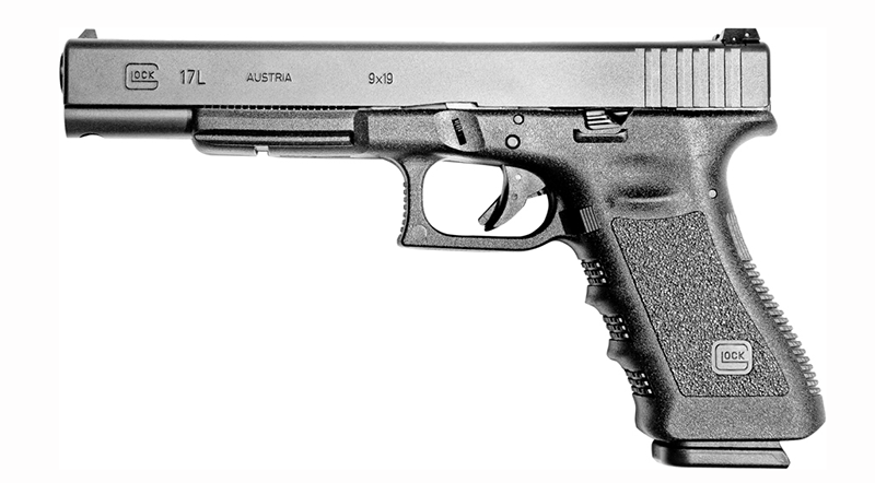 The G17L (L for Long slide) proved to be a great competition pistol in action shooting events. Some shooting competition organizations rewrote the rules to exclude the G17L.