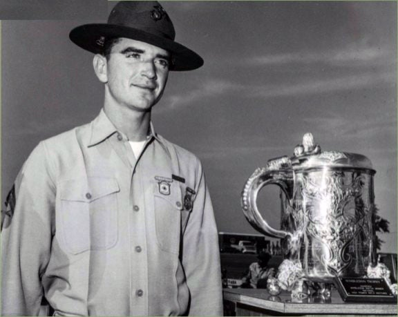 USMC sniper Carlos Hathcock with his 1965 Wimbledon Cup trophy
