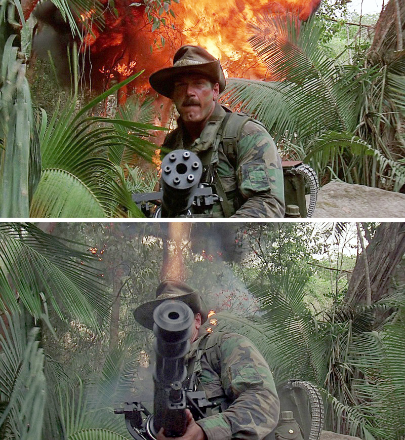 Ol' Painless was created by the film's armorer's from a GE M134 Minigun.