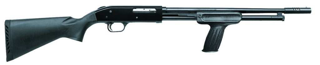 The Mossberg 410HS Home Security shotgun holds six rounds, weighs 5 ½ pounds, and has an 18.5-inch barrel with a vertical grip on the slide.