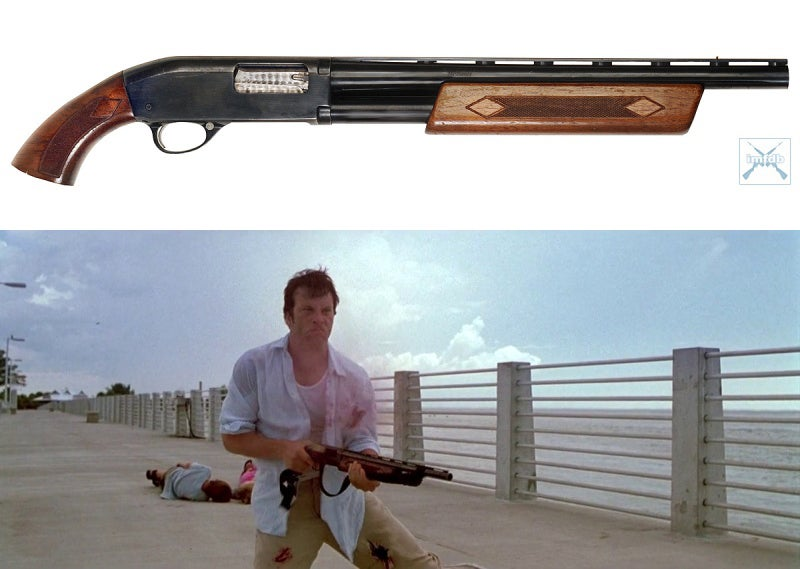 Frank fires his father's Ted Williams Model 21 Deluxe empty before being shot on the bridge.