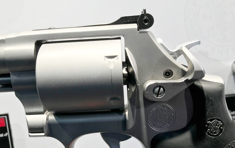 A closer look at the cylinder release lever on the new PC Model 686.