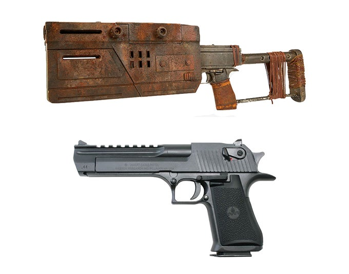This weapon is a SoroSuub JSP-14 blaster pistol, which is based on the Desert Eagle pistol, with a stock and a Trandoshan tripler attached to the muzzle.