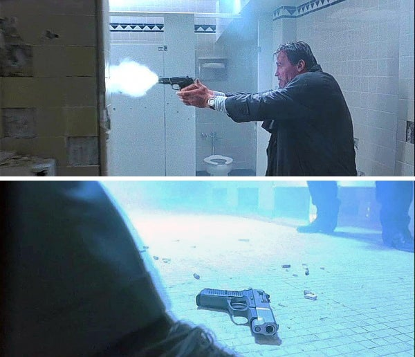 Harry first uses his Ruger KP90 in the bathroom shootout.