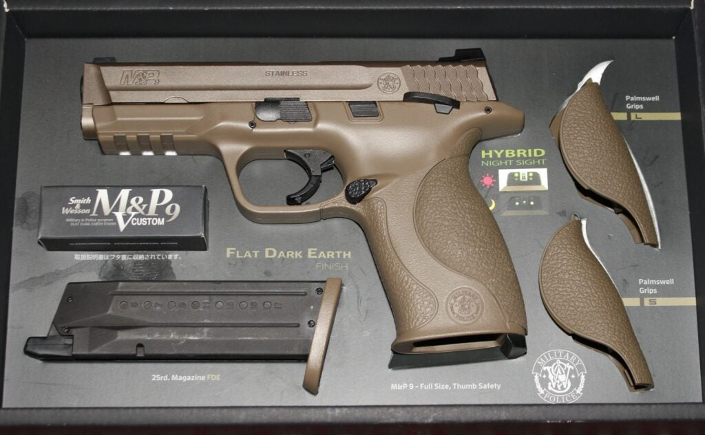 An airsoft version of the Smith & Wesson M&P9 pistol.