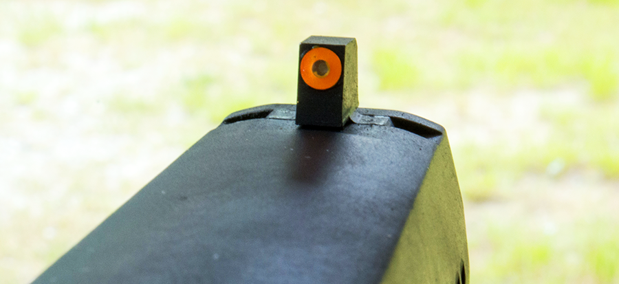 There's a lot of surface area on that front sight, which makes it fast to acquire. The orange ring is photo luminescent, so it actually glows after it collects a bit of light.