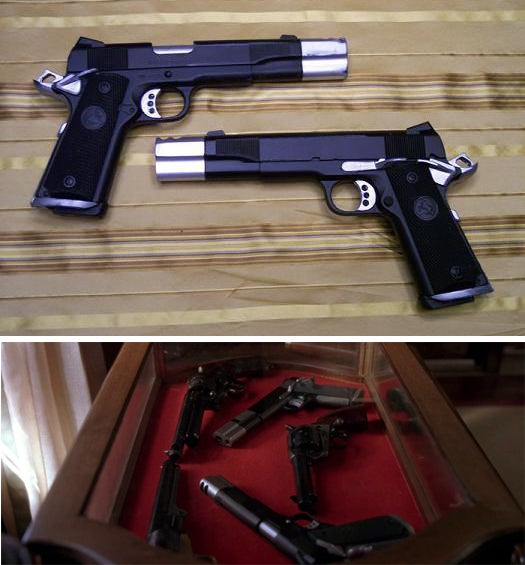 Castle's twin custom 1911s from *The Punisher* (2004). Note the custom compensators on the barrels.
